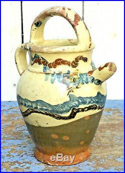 Antique French Terracotta Faience Confit Pottery Water Cruche. Rare Decoration
