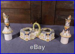 Antique French Tin Glazed Faience Oil & Vinegar Cruet Set Desvres/Rouen/Quimper