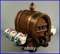 Antique French Wooden Liquor Barrel Set with 6 Quimper Faience Cups on Rack