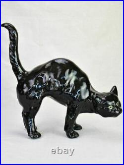 Antique French black cat roof sculpture attributed to Bavent