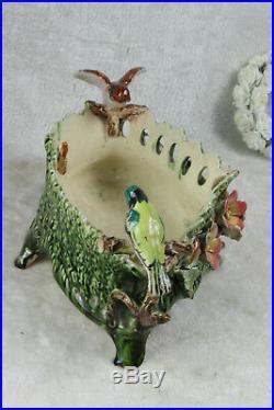 Antique French faience Barbotine jardiniere planter birds 1900 art nouveau