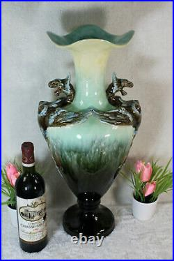 Antique French faience barbotine Dragon Vase