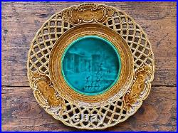 Antique French faience pierced plate manufactured by Rubelles, 19th century