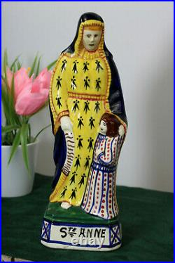 Antique French henriot quimper faience marked Saint anne figurine statue