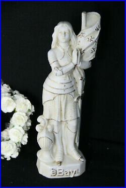 Antique French jeanne d'arc religious saint porcelain faience statue figurine