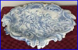 Antique French or Holland Faience Delft Blue & White Platter GB 1743 HUGE 26