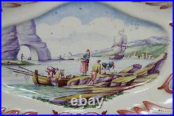 Antique French strasbourg faience ceramic fishermen maritime plate tray