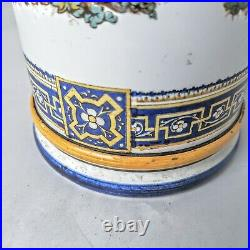 Antique GIEN French Faience Pottery Cylinder Vase Tall 10.5 1870s