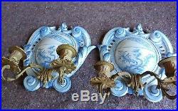 Antique Galle St Clement Faience & Bronze Sconces