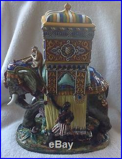 Antique Gien French Faience Majolica Pottery Elephant Blackamoor Howdah Containr