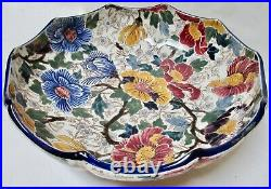 Antique Gien French Faience Mallows Bowl 10.75 Near Excellent Antique Condition