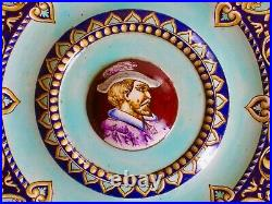 Antique Gien French Faience Portrait Wall Plate 11.5 Mint Condition