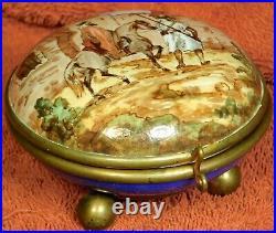 Antique Gilt Brass French Faience Ceramic Box Original Orientalist Painting Gien