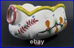 Antique HB QUIMPER Hand Painted Faience Planter French Centerpiece Jardiniere