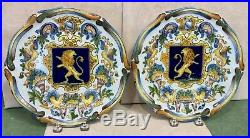Antique HP 19th C French Faience St Clement Majolica Pair Plates Heraldic