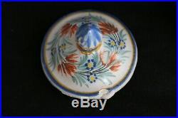 Antique HR QUIMPER Faience French Pottery TRAY 6 POT DE CREME cups with lids SET