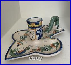 Antique HR Quimper Candle Holder, Hand Painted French Faience
