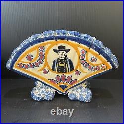 Antique HR Quimper French Faience Fan-shaped Vase Breton