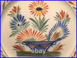 Antique HenRiot Quimper Floral'A La Touche Plate c. 1922+