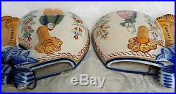 Antique Henriot QUIMPER Large Wall Pockets/Vases Bagpipe French Faience Breton