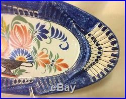 Antique Henriot Quimper 20 1/2 Large Fish Platter W Floral French Faience