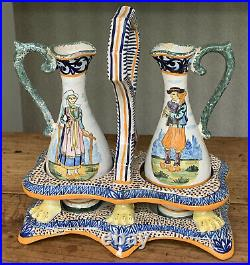 Antique Henriot Quimper Couple Breton Oil Vinegar Cruet Set Faience