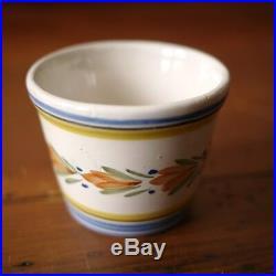 Antique Henriot Quimper French Faience Pottery Coëtquidan Butter Tub Planter