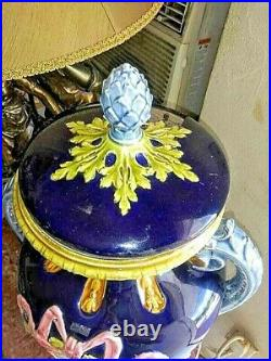 Antique Huge French Faience Urn with Lid, XIX C