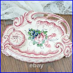 Antique Imperial Decor Main French Faience Inkwell Desk Set Floral c1891-1920
