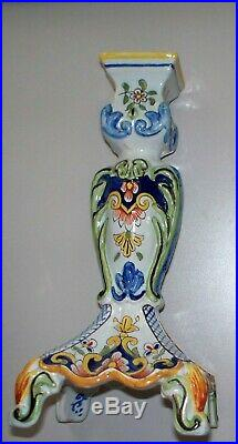 Antique Large French Faience Candlesticks Rouen & Desvres ca. 1880