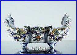 Antique Large Planter Cup Fruit Slip Dragon Faience Rouen Signed