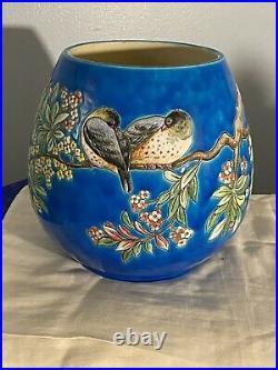 Antique Longways French Faience Large Barrel Vase Birds Floral