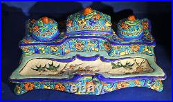 Antique Longwy French Faience Inkwell Must See