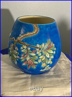 Antique Longwy French Faience Large Barrel Vase Birds Floral