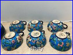 Antique Longwy Pottery French Enamel Faience 6 Cups and Saucers
