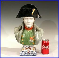 Antique Napoleon Bust French Faience Pottery Alcide Chaumeil CA Bonaparte Figure