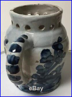 Antique Novelty Pottery Faience Puzzle Jug / Pitcher Drinking Vessel
