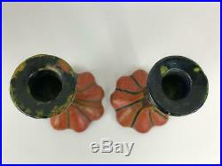 Antique Pair French Faience Majolica Red Glazed Pottery Art Nouveau Candlesticks