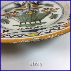 Antique Pair Of 19th Century French Tin Glazed Faience Dishes Decorated Flowers