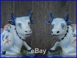 Antique Pair of Recumbent Faience / Delft Cows Unknown Mark French / Dutch