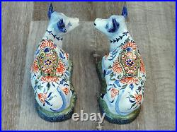 Antique Pair of Recumbent Faience / Delft Cows Unknown Mark French or Dutch
