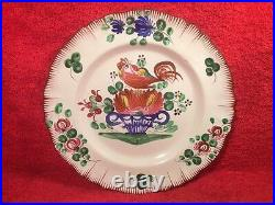 Antique Plate French Faience Hand Painted Rooster on Flower Basket c1800