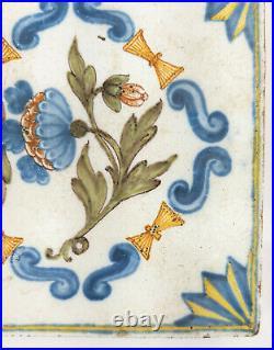 Antique Polychrome Dutch Delft French Faience Decorative Tile