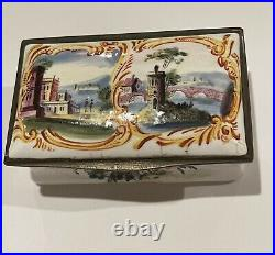 Antique Porcelain French Faience hand painted Landscape snuff box