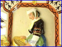Antique Porquier French Quimper Faience Pottery Relief Plaque