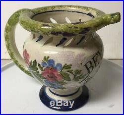 Antique Pottery Faience Puzzle Jug / Pitcher Drinking Vessel Bevete Se Potete