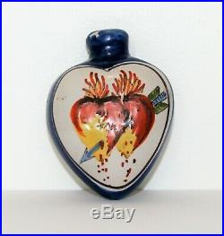 Antique Quimper Faience Perfume Scent Bottle, French Hand Painted Ceramic, RARE