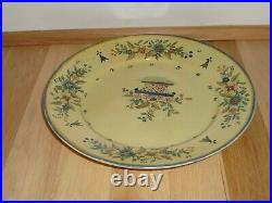 Antique Quimper French Faience 9.5 Dinner Plate in Basket of Flowers Design