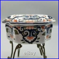 Antique Quimper Honfleur Ceramic Pottery Lidded Trinket Box French Faience