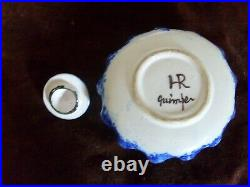 Antique Quimper Pottery, Inkwell signed HR Quimper, Hand Painted French Faience